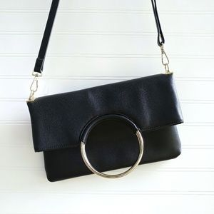 Enzo Angiolini Black Leather Crossbody Foldover